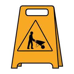 color plastic caution emblem and laborer with wheelbarrow