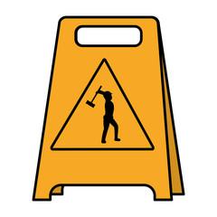color plastic caution emblem and laborer with mallet