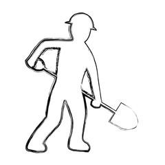 grunge pictogram laborer with shovel equipment maintenance