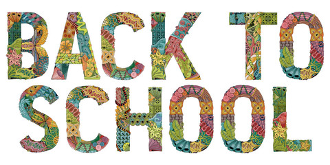 Words back to school. Vector decorative zentangle object