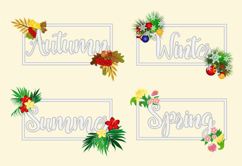 Four seasons banners, vector illustration