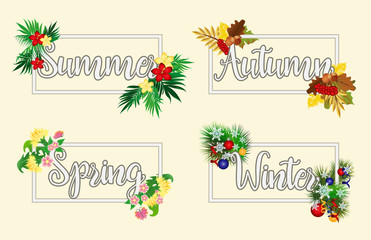 Four seasons words, vector illustration