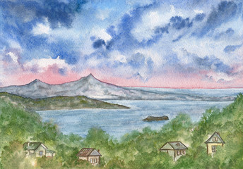 View from the hill to the sea and the islands. Beautiful landscape with blue cloudy sky, expanse of water, forest and houses. Watercolor painting.