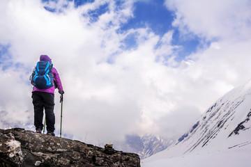 Enjoys view of Himalayas mountains in Annapurna Base Camp trekking in Nepal.
