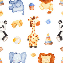 Watercolor pattern with cute animals and toys. Children's illustration with giraffe, lion, panda, elephant, giraffe. Excellent for children's invitations, postcards, projects, wallpapers, scrapbooking