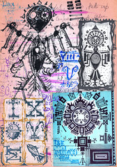 Foto op Aluminium Imagination Alchimia. Collage di appunti, manoscritti, disegni, simboli e schizzi esoterici, astrologici, alchemici e etnici