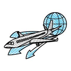 doodle travel airplane transport with global symbol