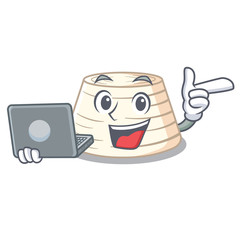 With laptop ricotta cheese icon in character cartoon