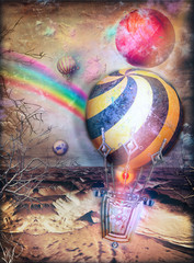 Foto op Canvas Imagination Fantastic hot air balloons flying in the desert with the rainbow