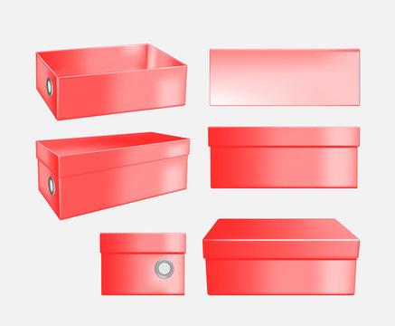 Red cardboard shoe box