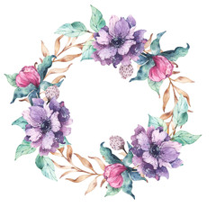 Hand painted illustration of a watercolor wreath with large violet anemone flowers, small pink peonies buds and turquoise green and brownish yellow leaves and branches