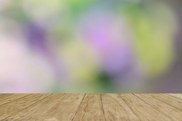Empty top wooden table on blur soft background usd your product