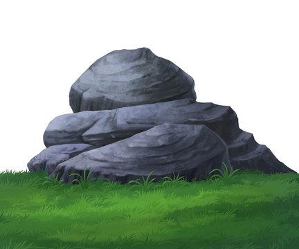 Large stone illustration on green grass.