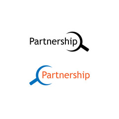 Partnership icon vector with magnifying glass icon