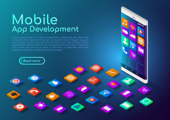 Isometric web banner smartphone with mobile app icon