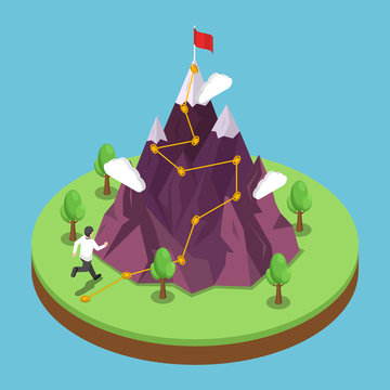 Isometric business journey path to success target on the top of mountain