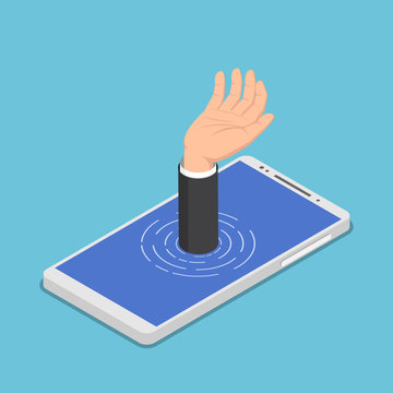 Isometric businessman hand get drowned in smartphone