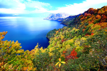 Beautiful aerial view of Lake Towada with colorful autumn foliage in Aomori, Japan, seen from Kankodai observation deck