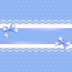 Light blue background with lilac ribbons and bows. Vintage background with lace border and satin ribbon with bows. Invitation card or shower template. Vector illustration.