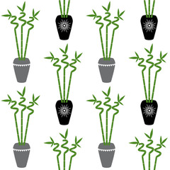 green bamboo branch with leaves in black and gray pots boho style on a white background seamless pattern home plant asia tropical zen vector