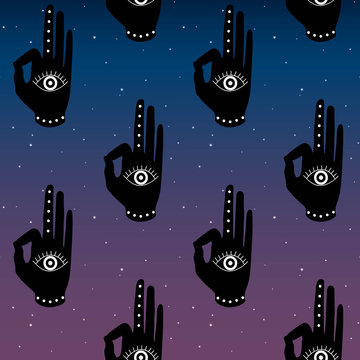 black hand with eye mudra on a blue and purple sky  background night space stars buddhism hinduism symbol pattern seamless yoga India meditation hipster vector