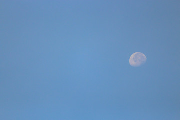 moon on day time with blue sky