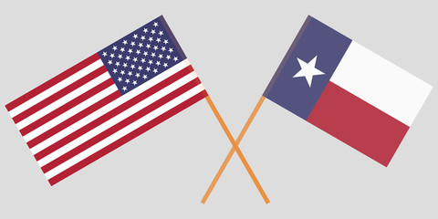 Crossed flags of United States and Texas State. Official colors. Correct proportion. Vector