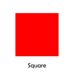 Square in cartoon style, card with geometric shape for kid, preschool activity for children, vector illustration