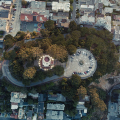 Aerial Drone Shot Coit Tower San Francisco California the City Background