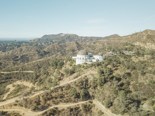 Aerial Drone Shot Griffith Observatory Los Angeles Midday
