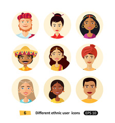 Multicultural national ethnic people cartoon avatars icons set