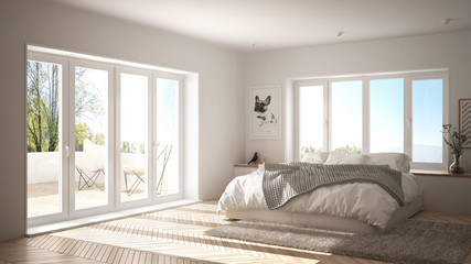 Scandinavian white minimalist bedroom with panoramic window, fur carpet and herringbone parquet, modern architecture interior design