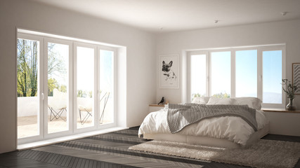 Scandinavian white and gray minimalist bedroom with panoramic window, fur carpet and herringbone parquet, modern architecture interior design