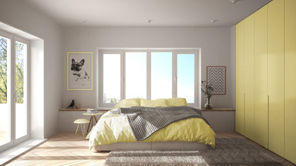 Scandinavian white and yellow minimalist bedroom with panoramic window, fur carpet and herringbone parquet, modern pastel architecture interior design