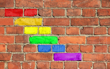 Rainbow pattern on an old brick wall