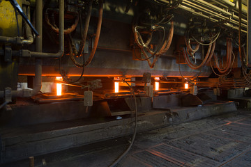 casting in a mold for the production of metal. metallurgy