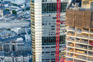 Aerial of construction site in Frankfurt, Germany - Europe