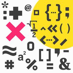 Mathematical symbol icon set on white background