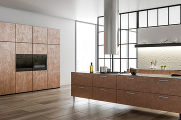 Kitchen corner, brown countertops