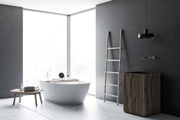 Panoramic windows gray bathroom corner