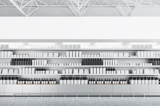 Supermarket shelves with mock up bottles and boxes