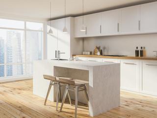 White loft kitchen corner, bar with stools