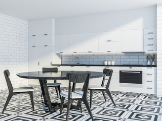 Modern kitchen corner with a table