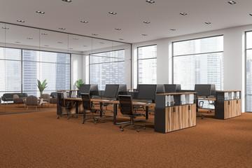 White open space office corner, brown floor
