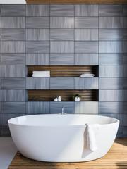 Scandinavian style bathroom interior, gray