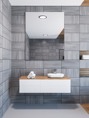 Scandinavian style bathroom interior, sink