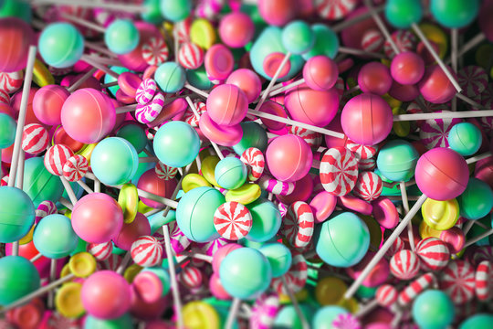 Colorful yellow, blue and pink lollipop backdrop