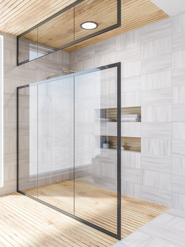 White wood bathroom corner, shower glass door