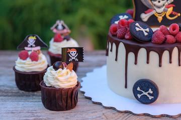 homemade children's cake in pirate style