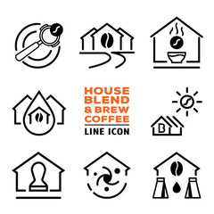 house blend and brew coffee line icon